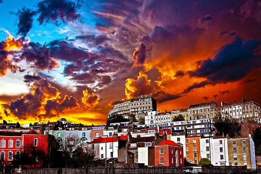 Town, Landscape, Dramatic Sunset, Sunset, Sky, Urban