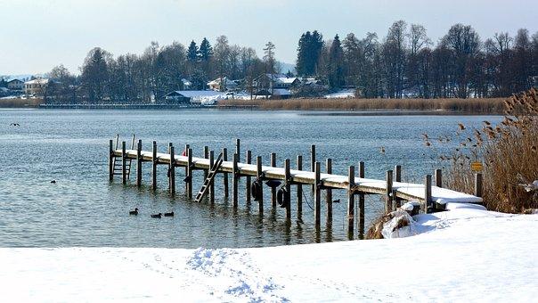 Winter, Snow, Wintry, Landscape, Chiemsee, Bavaria