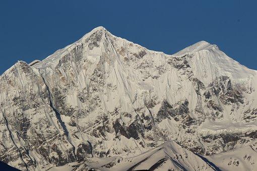 Mountain, Tall, High, Snow, Snowclad, Snowy, Sky, Blue