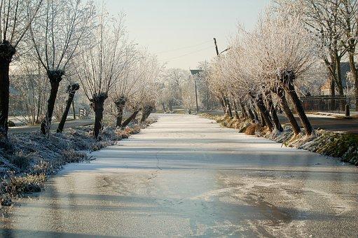 Canal, Bach, Water Running, Frozen, Winter, Snow
