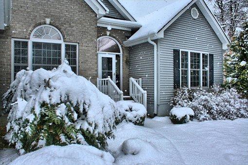 House, Snowfall, Winter, Front Door, Exterior, Home