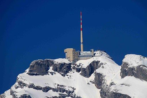 Mountains, Säntis, Snow, Switzerland Säntis, Swiss Alps