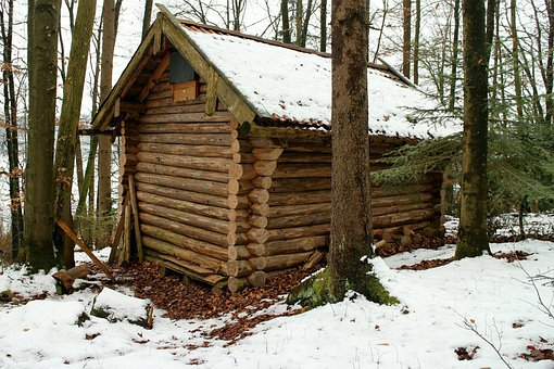 Log Cabin, Block House, Forest, Nature, Winter, Home