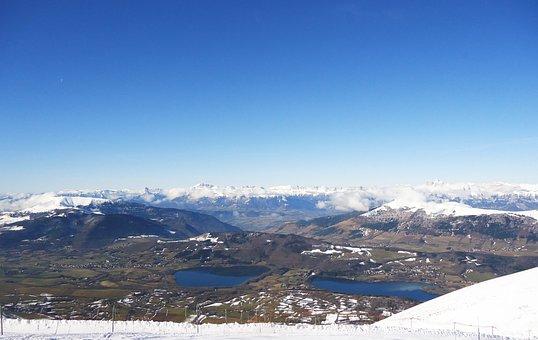 Panorama, Alps, France, Landscape, Snow, Winter