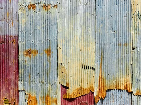 Wave Plate, Wall, Rusty, Aged, Red, White, Blue, Brown