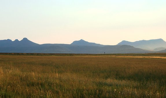 Veld, Grass, Landscape, Sky, Far Off Mountains, Field
