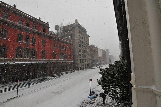 Snow, Street, Lafayette, Snowfall, Cold, Winter, Snowy