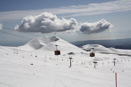 Etna, Etna Volcano, Sicily, Italy, Ski, Snow, Mountain