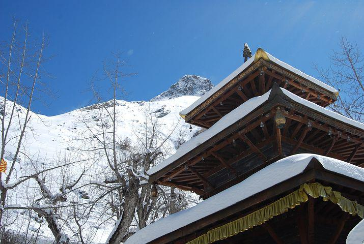 Temple, Buddhist, Pagoda, Snow, Snowy, Snowclad