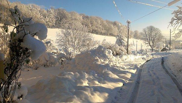 Snow, Landscape, Winter Blast, Road, Away, Winter Way