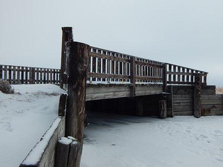 Bridge, Wooden, Creek, Winter, Snow, Frozen, Path
