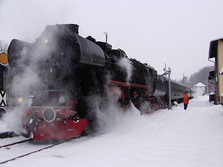 Railway, Steam Locomotive, Steam, Smoke, Winter, Snowy