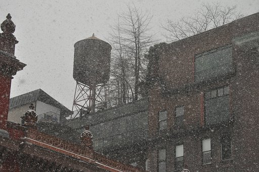 Water Tower, Snow, Snowfall, Weather, Cold, Winter