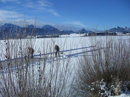 Winter, Alpine Panorama, Lake, Ice, Curling Ground