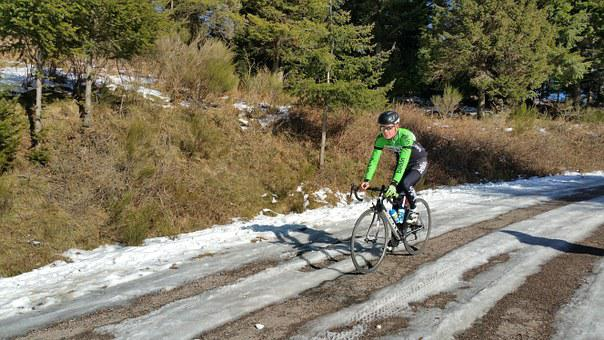 Cyclist, Cycling, Snow, Landscape, Winter, Trees, Ice