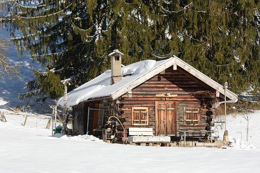 Winter, Snow, Hut, Block House, Wintry, Snowy