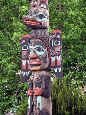 Totem, Pole, Faces, Alaska, American, Native, Indian