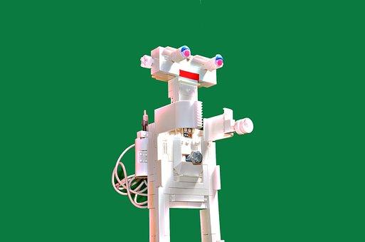 Robot, Lego, Android, Robotics, White, Green Background