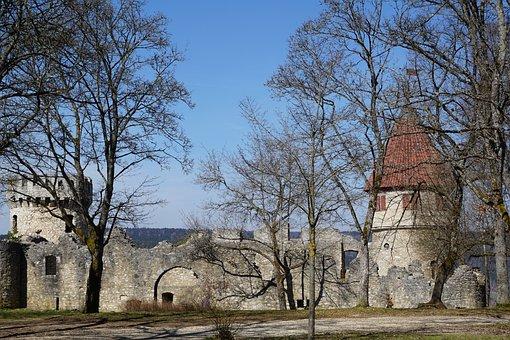 Ruin, Castle, Park, Trees, Honing Mountain, Tuttlingen