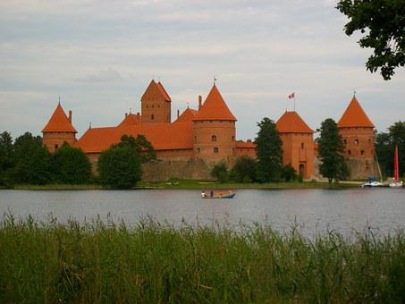 Castle, Baltic Countries, Lake, Visit, Holiday, Boat