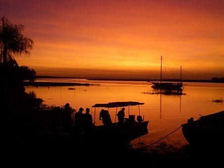 Sunset, Bolivia, Pantanal, Lake, Boats, People