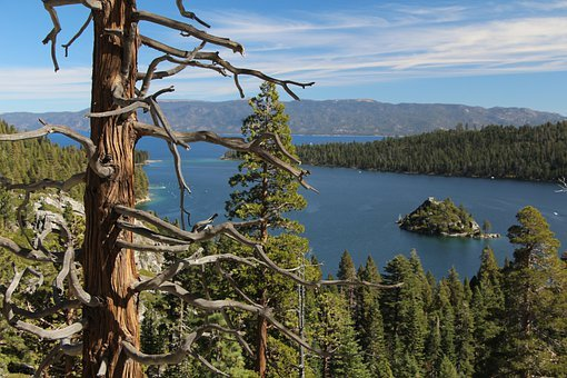 Lake Tahoe, Emerald Bay, Water, Lake, Island, Landscape