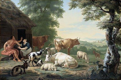 Arcadian, Landscape, Shepherd, Herders, Animals, Jan