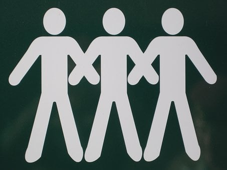 Sign Board, White Figures, Persons, People, Three, Men