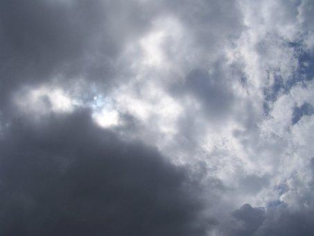 Sky, Cloudy, Clouds, Storm, Moon, Nature, Light