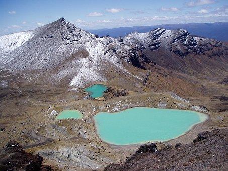 New Zealand, Tongariro Crossing, Emerald Lakes