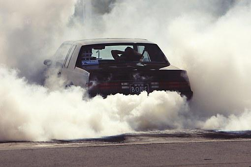 Wheely, Smoke, Car, Power, Aggressive, Driving, Grunge