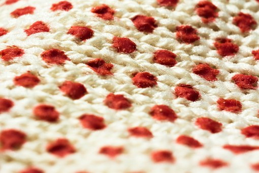 Fabric, Circle, White, Red, Light, Shadow, Background