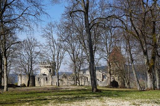 Ruin, Castle, Park, Trees, Honing Mountain, Tuttlingen