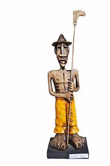 Sculpture, Man, Statue, White Background, Working