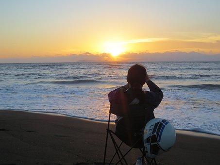 Sea, Blue, Sunset, Ocean, Water, Nature, Summer