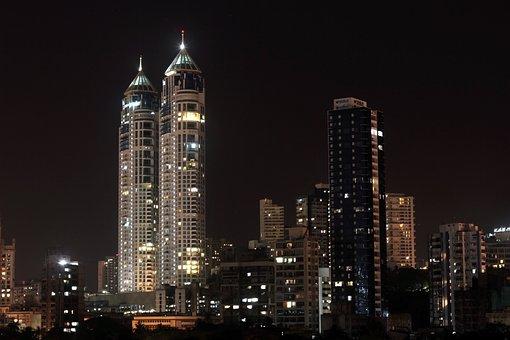 Mumbai, Haji Ali, High, Rises, Night, City, Urban