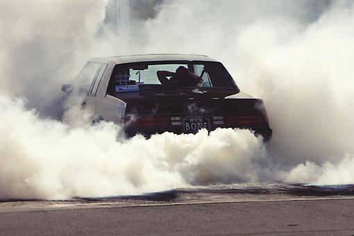 Wheely, Smoke, Car, Power, Aggressive, Driving, Grunge