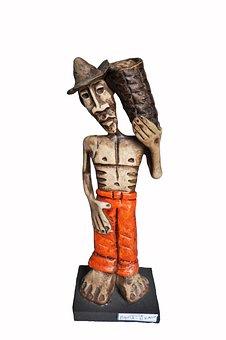 Crafts, Sculpture, Art, Statue, White Background, Clay