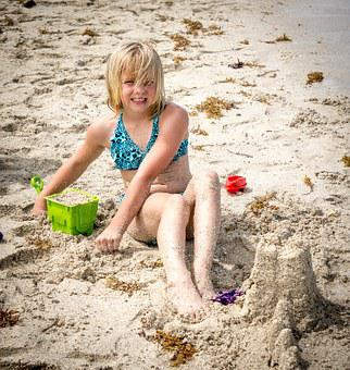 Child, Person, People, Beach Sand, Playing, Blond