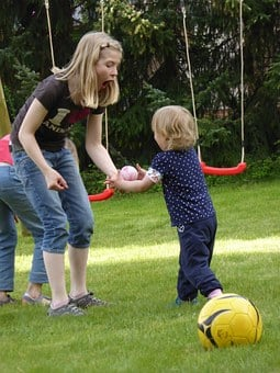 Children, Mama, Mother, Child, Play, Ball, Swing