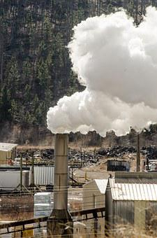 Sawmill, Sawmill Smokestack, Smoke, Chimney, Lumber