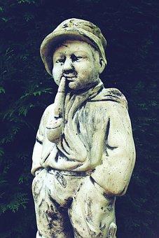 Sculpture, Lad, Man, Boy, Pipe, Smoking, Face, Art