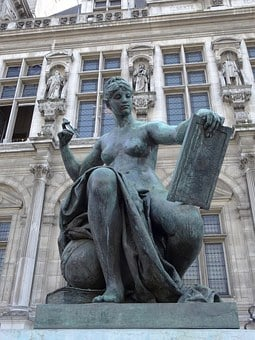 Bronze Statue, Female Nude, Science, Bronze, Statue