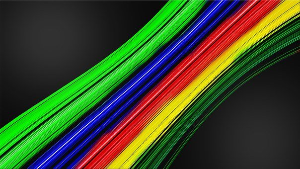 Fiber Optic Cable, Rainbow Colors, Background, Abstract