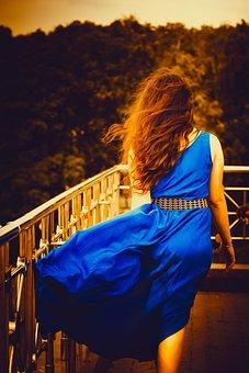Girl In Blue Dress, Long Hair, Girl, Length Of Dress
