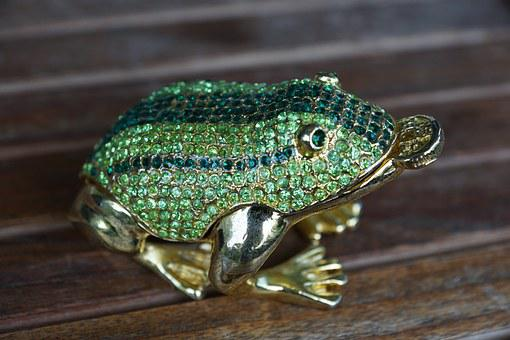 Frog, Green, Luck, Figure, Animal, Stones, Gems, Gold
