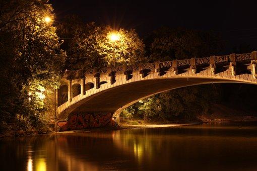 Bridge, Maximilian Bridge, Munich, Night, Lighting