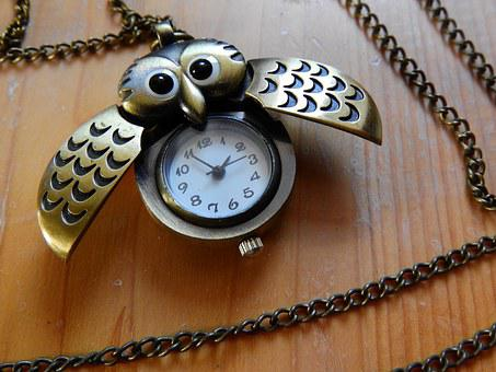 Necklace, Chain, Owl, Jewelry, Gold, Watch, Dial