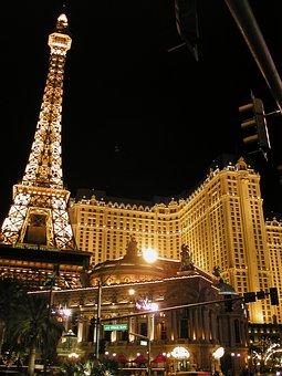 Eiffel Tower, Las Vegas, Replica, Night, Lighting