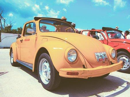 Car, Oldtimer, Beetle, Orange, Retro, Vintage, Famous
